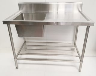 Stainless Steel Single Sink Bench 1200mm - Left - New - $809 + GST