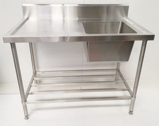Stainless Steel Single Sink Bench 1200mm - Right - New - $809 + GST