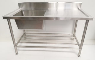 Stainless Steel Single Sink Bench 1500mm - Left - New - $1019 + GST