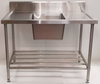 Stainless Steel Single Sink Bench 1200mm - Centre - New - $809 + GST