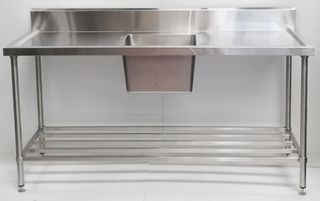 Stainless Steel Single Sink Bench 1800mm - Centre - New - $1109 + GST