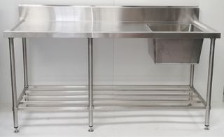 Stainless Steel Single Sink Bench 1800mm - RIGHT- New - $1109 + GST