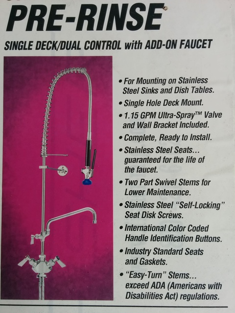 Fisher Pre-Rinse Gun Bench Mount - New - $995 + GST