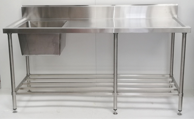 Stainless Steel Single Sink Bench 1800mm - Left - New - $1109 + GST
